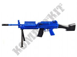 GH2001 BB Gun M249 LMG Replica Spring Airsoft Rifle with Bipod 2 Tone Blue Black